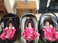 "Pictured: The three sisters when they went home from hospital<br /> Re: A set of identical triplets have been colour-coded to help teachers tell them apart on their first day in nursery school.<br /> Three-year-olds Ffion, Maddison and Paige Gilbert, are so alike even their parents struggle to know which is which.<br /> Karen and Ian Gilbert used different coloured nail-varnish on their fingers and toes to identify them when they were babies.<br /> Now the couple are using the same colours for their hair bands and bobbles at the nursery where they have just enrolled.<br /> And the colours even correspond with the names of the identical trio. <br /> Ffion has fuschia, Maddison has mint and Paige has purple.<br /> Karen, 35, of Pontypool, South Wales, said: ""We have colour-coded them since they were tiny babies - it helped us keep track of which ones had been fed.<br /> ""But nail varnish isn't allowed in school so we had come up with come other way."