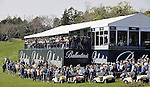JEJU, SOUTH KOREA - APRIL 25:  Spectators attend the Round Three of the Ballantine's Championship on the 18th green at Pinx Golf Club on April 25, 2010 in Jeju, South Korea. Photo by Victor Fraile / The Power of Sport Images