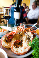 A typicla lobster platter at the Restaurante Puerto Nuevo 2 in Puerto Nuevo. Press tour around Baja California Norte