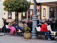 Restaurant vor Benicky-Haus  nam.SNP 16  in Banska Bystrica, Banskobystricky kraj, Slowakei, Europa<br /> Restaurant at Benicky house nam. SNP 16 in Banska Bystrica, Banskobystricky kraj, Slovakia, Europe