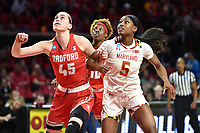 College Park, MD - March 23, 2019: Radford Highlanders forward Savannah Felgemacher (45) and Maryland Terrapins guard Kaila Charles (5) fight for position under the basket during first round action of game between Radford and Maryland at Xfinity Center in College Park, MD. Maryland defeated Radford 73-51. (Photo by Phil Peters/Media Images International)