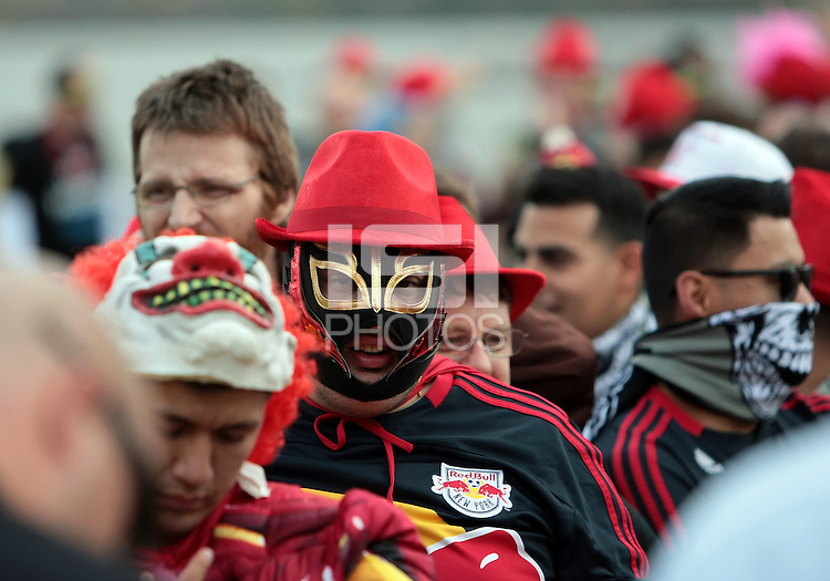 CHESTER, PA - OCTOBER 27, 2012:  Fans of the New York Red Bulls wait to go through secuity before an MLS match against the Philadelphia Union at PPL Park in Chester, PA. on October 27. Red Bulls won 3-0.