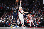Portland Trail Blazers center Jusuf Nurkic (27) defends Denver Nuggets forward Paul Millsap (4) in the second half at Moda Center. <br /> Photo by Jaime Valdez