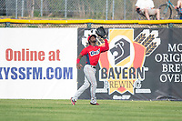 Orem Owlz center fielder D'Shawn Knowles (4) prepares to catch a fly ball during a Pioneer League game against the Missoula Osprey at Ogren Park Allegiance Field on August 19, 2018 in Missoula, Montana. The Missoula Osprey defeated the Orem Owlz by a score of 8-0. (Zachary Lucy/Four Seam Images)