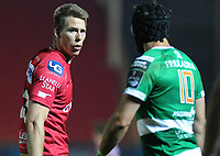 Scarlets' Liam Williams exchanges words with Benetton Treviso's Ian McKinley<br /> <br /> Photographer Ashley Crowden/CameraSport<br /> <br /> Guinness PRO12 Round 19 - Scarlets v Benetton Treviso - Saturday 8th April 2017 - Parc y Scarlets - Llanelli, Wales<br /> <br /> World Copyright &copy; 2017 CameraSport. All rights reserved. 43 Linden Ave. Countesthorpe. Leicester. England. LE8 5PG - Tel: +44 (0) 116 277 4147 - admin@camerasport.com - www.camerasport.com