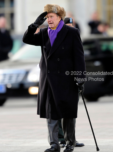 Washington, DC - January 20, 2009 -- Former United States President George H.W. Bush salutes as he departs the East Front of the US Capitol Building after Barack Obama was sworn in as the 44th President of the United States in Washington, DC, USA 20 January 2009.  Obama defeated Republican candidate John McCain on Election Day 04 November 2008 to become the next U.S. President..Credit: Tannen Maury - Pool via CNP