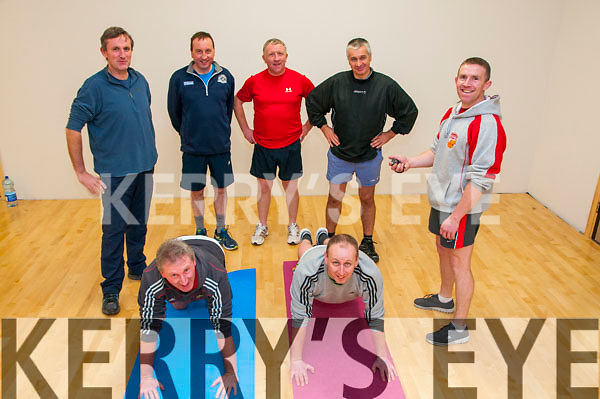 Duagh Legends: Pictured at Duagh Sports & Leisure centre are lagends of Duagh aiming to keep fit in aid of Duagh National school are Steve O'Connor & Mike Buckley in front. Back : Donal Broderick, Larry O'Connor, John Dillon, Pat Shanahan & Instructor Tom Dillon.