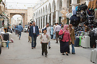Tripoli, Libya - Street Scene in the Medina (Old City), Karamanli Mosque on right.