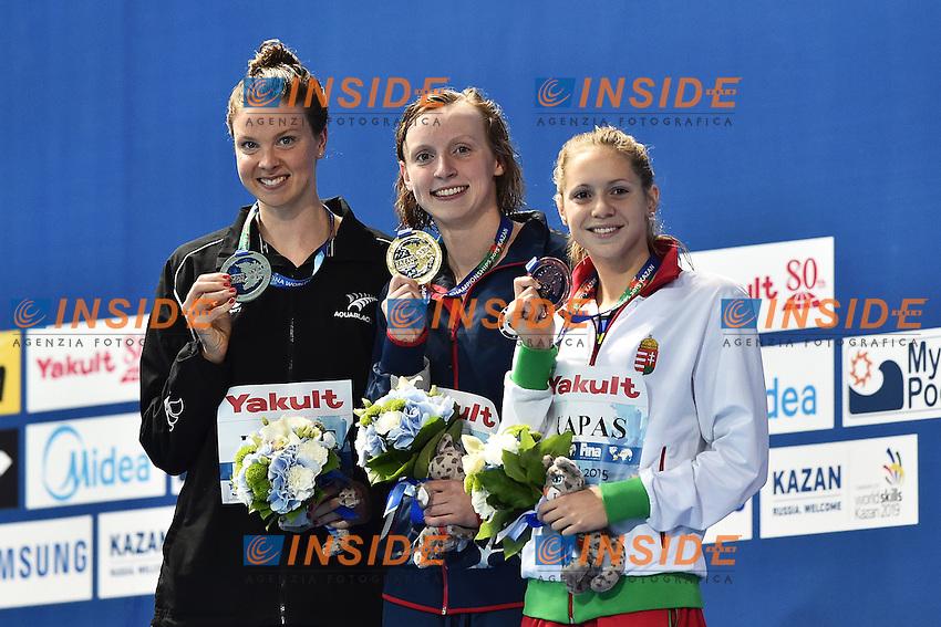 BOYLE Lauren NZL Silver, LEDECKY Katie USA, KAPAS Bogiarka HUN Bronze  Women's 1500m Freestyle Gold MEdal World Record <br /> Day11 04/08/2015 Kazan Arena <br /> Swimming Nuoto <br /> XVI FINA World Championships Aquatics  <br /> Kazan Tatarstan RUS <br /> Photo Andrea Staccioli/Deepbluemedia/Insidefoto