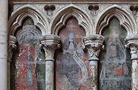 3 of 8 painted sibyls, 1506, in the blind arcade decorating the Chapel of St Eligius, the 1st radiating chapel on the South side, donated by Adrien de Henencourt, doyen of the chapter and master of the Puy, in 1492, in the Basilique Cathedrale Notre-Dame d'Amiens or Cathedral Basilica of Our Lady of Amiens, built 1220-70 in Gothic style, Amiens, Picardy, France. Amiens Cathedral was listed as a UNESCO World Heritage Site in 1981. Picture by Manuel Cohen