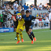 San Jose, CA - Saturday August 03, 2019: Luis Diaz #18, Nick Lima #11 in a Major League Soccer (MLS) match between the San Jose Earthquakes and the Columbus Crew at Avaya Stadium.
