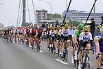 The peloton with race leader Yellow Jersey Geraint Thomas (WAL) Team Sky cross Theodor-Heuss-Bridge over the River Rhine during Stage 2 of the 104th edition of the Tour de France 2017, running 203.5km from Dusseldorf, Germany to Liege, Belgium. 2nd July 2017.<br /> Picture: Eoin Clarke | Cyclefile<br /> <br /> <br /> All photos usage must carry mandatory copyright credit (&copy; Cyclefile | Eoin Clarke)