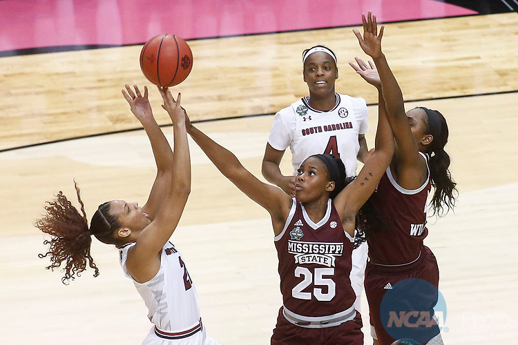 DALLAS, TX - APRIL 2: Mikiah Herbert Harrigan #21 of the South Carolina Gamecocks' shot is blocked by Zion Campbell #25 of the Mississippi State Lady Bulldogs during the 2017 Women's Final Four at American Airlines Center on April 2, 2017 in Dallas, Texas. (Photo by Timothy Nwachukwu/NCAA Photos via Getty Images)