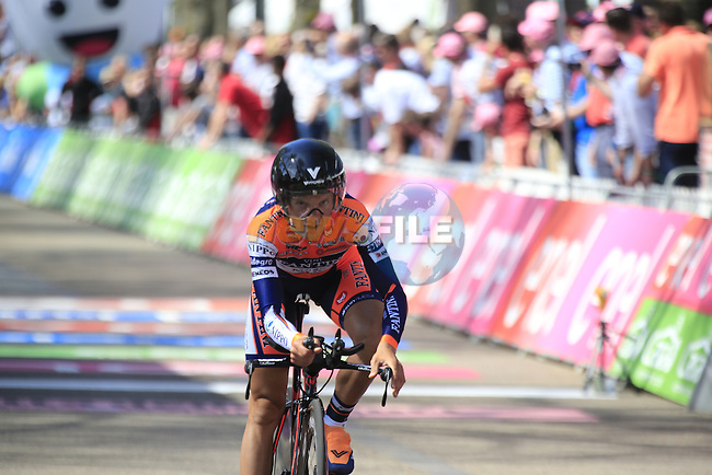 Alessandro Bisolti (ITA) Nippo-Vini Fantini crosses the finish line of Stage 1 of the 2016 Giro d'Italia, an individual time trial of 9.8km around Apeldoorn, The Nethrerlands. 6th May 2016.<br /> Picture: Eoin Clarke | Newsfile<br /> <br /> <br /> All photos usage must carry mandatory copyright credit (&copy; Newsfile | Eoin Clarke)