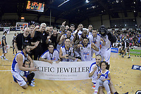 The Saints celebrates winning the national basketball league final Hawks v Saints at TSB Bank Arena, Wellington, New Zealand on Saturday 5 July 2014. <br /> Photo by Masanori Udagawa. <br /> www.photowellington.photoshelter.com.