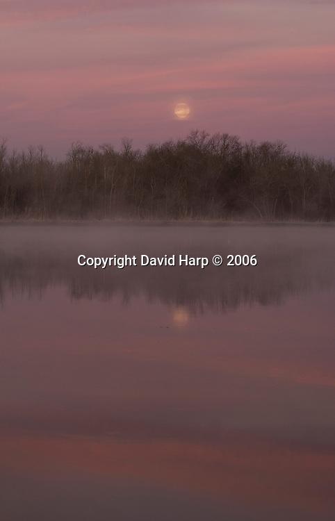 A winter moonset along the Nanticoke River