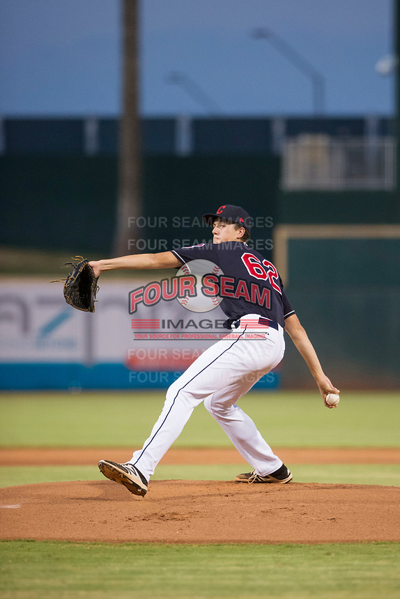 AZL Indians starting pitcher Dante Mendoza (62) delivers a pitch to the plate against the AZL Padres on August 30, 2017 at Goodyear Ball Park in Goodyear, Arizona. AZL Padres defeated the AZL Indians 7-6. (Zachary Lucy/Four Seam Images)