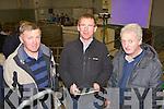 Mossie O Sullivan Valentia, PJ O'Sullivan Valentia and James Lynch Portmagee at the IFA senimar in Castleisland Mart on Thursday evening..