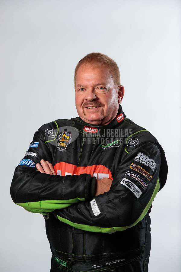 Feb 6, 2019; Pomona, CA, USA; NHRA top fuel driver Terry McMillen poses for a portrait during NHRA Media Day at the NHRA Museum. Mandatory Credit: Mark J. Rebilas-USA TODAY Sports