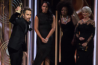 Sam Rockwell accepts the Golden Globe Award for BEST PERFORMANCE BY AN ACTOR IN A SUPPORTING ROLE IN A MOTION PICTURE for his role in &quot;Three Billboards Outside Ebbing, Missouri&quot; at the 75th Annual Golden Globe Awards at the Beverly Hilton in Beverly Hills, CA on Sunday, January 7, 2018.<br /> *Editorial Use Only*<br /> CAP/PLF/HFPA<br /> &copy;HFPA/PLF/Capital Pictures