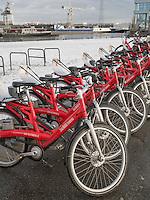 Stadtrad Leihfahrr&auml;der am Harburger Binnenhafen, Hamburg, Deutschland, Europa<br /> bicycle for rent at Harburg Harbour, Hamburg, Germany Europe