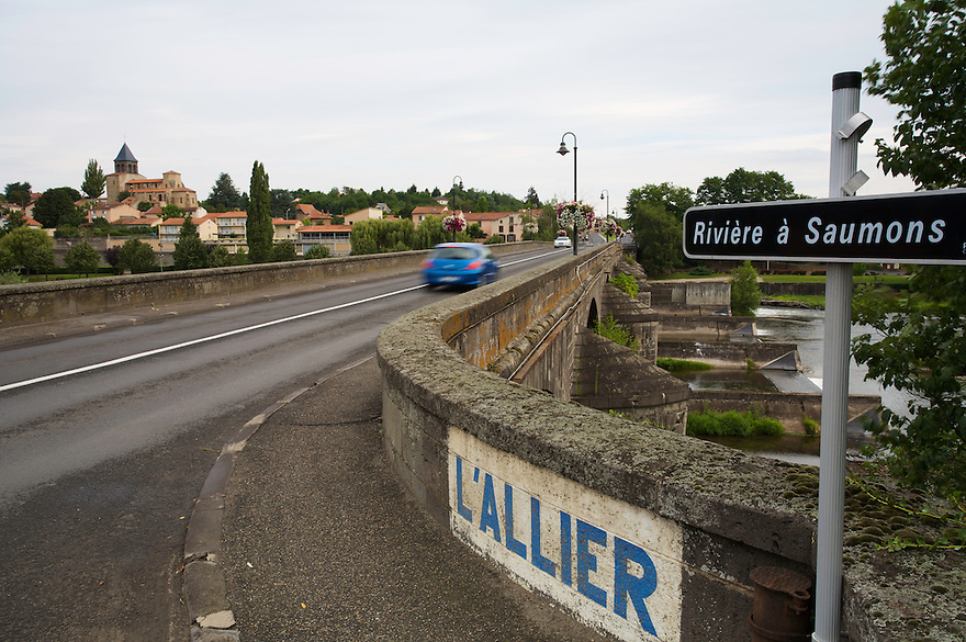 The old stone bridge of Pont-du-Chateau crossing the river Allier, in which Atlantic Salmon (Salmo salar) were successfully  reintroduced. Pont-du-Chateau, Auvergne, France.