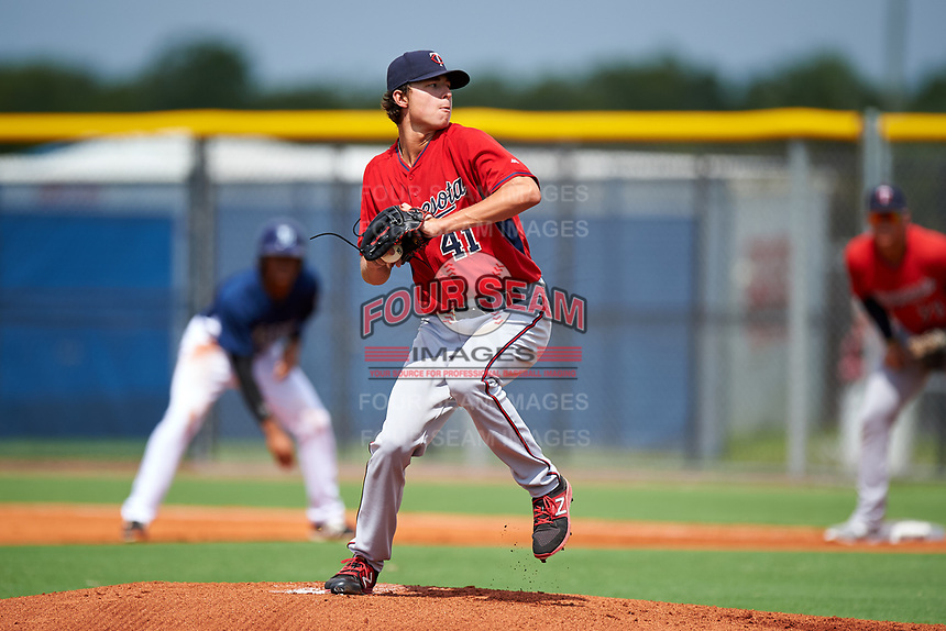 GCL Twins relief pitcher Jordan Balazovic (41) delivers a pitch during the first game of a doubleheader against the GCL Rays on July 18, 2017 at Charlotte Sports Park in Port Charlotte, Florida.  GCL Twins defeated the GCL Rays 11-5 in a continuation of a game that was suspended on July 17th at CenturyLink Sports Complex in Fort Myers, Florida due to inclement weather.  (Mike Janes/Four Seam Images)