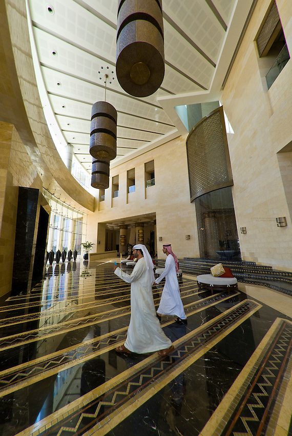 Lobby of Raffles Dubai Hotel (Egyptian themed hotel) Dubai, United Arab Emirates