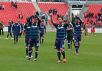 21 April 2012: Chicago Fire forward Orr Barouch #15, Chicago Fire midfielder Pavel Pardo #17 and Chicago Fire midfielder Daniel Paladini #11 wave to the Chicago Fire fans which made the trip to Toronto in a game between the Chicago Fire and Toronto FC at BMO Field in Toronto..The Chicago Fire won 3-2...