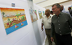 "Director of UNRWA operations in Gaza Bo Shack attends the art exhibition ""draw your dream for Gaza 2020"", in Gaza city on Aug. 23, 2016. Photo by Mohammed Asad"
