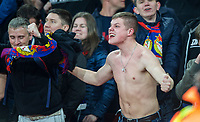 CSKA supporters celebrate a goal during the UEFA Europa League QF 1st leg match between Arsenal and CSKA Moscow  at the Emirates Stadium, London, England on 5 April 2018. Photo by Andrew Aleksiejczuk / PRiME Media Images.
