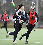 Frankfurt am Main, Germany, March 14: During the Damen 1. Bundesliga West Lacrosse match between SC 1880 Frankfurt and Duesseldorfer Hirschkuehe on March 14, 2015 at the SC 1880 Frankfurt in Frankfurt am Main, Germany. Final score 20-13 (13-8). (Photo by Dirk Markgraf / www.265-images.com) *** Local caption *** Meike Wagner #7 of Duesseldorfer Hirschkuehe, Sarah Broehl #4 of SC 1880 Frankfurt