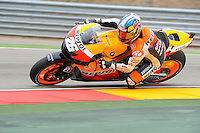 Spanish rider Dani Pedrosa accelerating during the free practice 1 at The Grand Prix Aragon 2012
