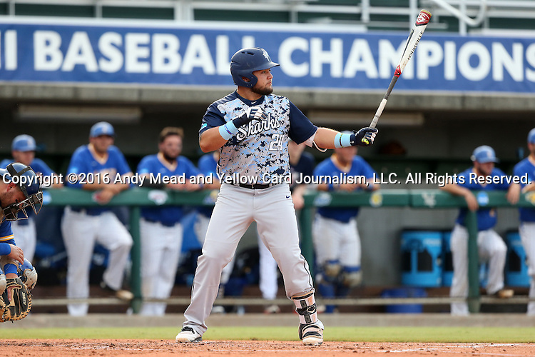 31 May 2016: Nova Southeastern's Brandon Gomez. The Nova Southeastern University Sharks played the Lander University Bearcats in Game 8 of the 2016 NCAA Division II College World Series  at Coleman Field at the USA Baseball National Training Complex in Cary, North Carolina. Nova Southeastern won the game 12-1.