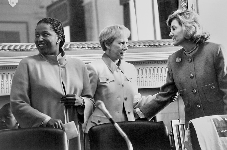 Sen. Carol Elizabeth Moseley Braun, D-Ill., Sen. Nancy Landon Kassebaum Baker, R-Kans., and Sen. Kay Bailey Hutchison, R-Tex., appears before a group of daughter to answer questions, as part of 'Take your Daughter to Work Day.' Aprill 27, 1995 (Photo by Maureen Keating/CQ Roll Call)