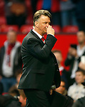 Louis Van Gaal, manager of Manchester United at full time during the Emirates FA Cup match at Old Trafford. Photo credit should read: Philip Oldham/Sportimage