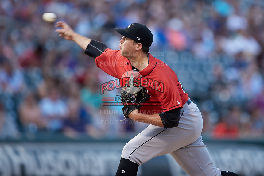 Indianapolis Indians starting pitcher Alex McRae (28) delivers a pitch to the plate against the Charlotte Knights at BB&T BallPark on May 26, 2018 in Charlotte, North Carolina. The Indians defeated the Knights 6-2.  (Brian Westerholt/Four Seam Images)