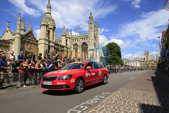 ASO Skoda passes by King's College as they start in Cambridge before the start of Stage 3 of the 2014 Tour de France running 155km from Cambridge to London. 7th July 2014.<br /> Picture: Eoin Clarke www.newsfile.ie