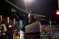 Rwandan president Paul Kagame speaks after the announcment of partial presidential election results at Amahoro stadium, Kigali, Rwanda. President Paul Kagame won 93 percent of the counted votes. August 10 2010