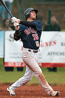 17 October 2010: Aaron Hornostaj of Rouen hits a two runs home run during Rouen 10-5 win over Savigny, during game 2 of the French championship finals, in Savigny sur Orge, France.