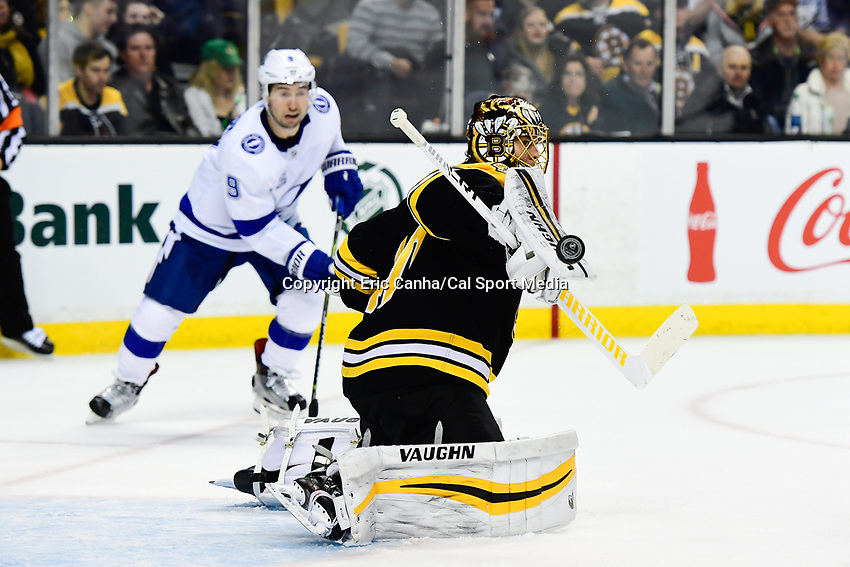 March 29, 2018: Boston Bruins goaltender Tuukka Rask (40) makes a stick side save during the NHL game between the Tampa Bay Lightning and the Boston Bruins held at TD Garden, in Boston, Mass. Boston defeats Tampa Bay 4-2. Eric Canha/CSM