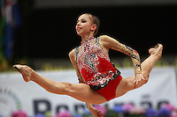 Daria Dmitrieva of Russia split leaps with rope at 2008 Portimao World Cup of Rhythmic Gymnastics on April 19, 2008.  Photo by Tom Theobald.
