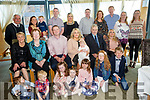 NEW ARRIVAL: Baby Ria Kate Harty, pictured with her parents Shane and Eimear, and family at her christening celebration in the Ballyroe Heights Hotel on Sunday, following the earlier ceremony in St John's Church, Causeway by Fr Brendan Walsh.