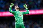 David de Gea of Manchester United celebrates victory during the Barclays Premier League match at the Etihad Stadium. Photo credit should read: Philip Oldham/Sportimage