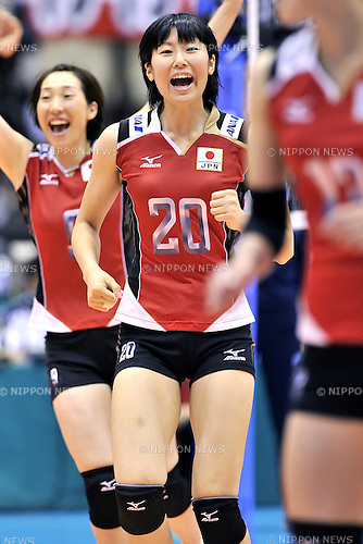 Aimi Kawashima (JPN),<br /> AUGUST 16, 2013 - Volleyball :<br /> 2013 FIVB World Grand Prix, Preliminary Round Week 3 Pool M match Japan 0-3 Bulgaria at Sendai Gymnasium in Sendai, Miyagi, Japan. (Photo by Ryu Makino/AFLO)