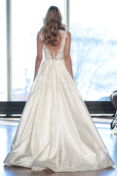 """Model Heather walks runway in a """"Stevie"""" bridal gown from the Rivini Spring Summer 2017 bridal collection by Rita Vinieris at The Standard Highline Room, during New York Bridal Fashion Week on April 15, 2016."""