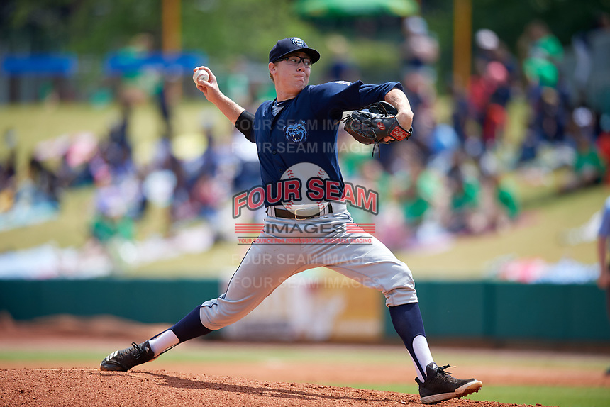 Mobile BayBears starting pitcher Matt Ball (39) during a Southern League game against the Montgomery Biscuits on May 2, 2019 at Riverwalk Stadium in Montgomery, Alabama.  Mobile defeated Montgomery 3-1.  (Mike Janes/Four Seam Images)