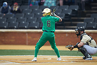 Ethan Copeland (6) of the Notre Dame Fighting Irish at bat against the Wake Forest Demon Deacons at David F. Couch Ballpark on March 10, 2019 in  Winston-Salem, North Carolina. The Demon Deacons defeated the Fighting Irish 7-4 in game one of a double-header.  (Brian Westerholt/Four Seam Images)