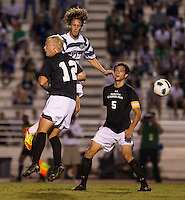 The number 5 ranked Charlotte 49ers play the University of South Carolina Gamecocks at Transamerica field in Charlotte.  Charlotte won 3-2 in the second overtime.  Jennings Rex (17), Jason Chapman (12)