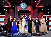 President Donald Trump and First Lady Melania Trump appear with family members and Vice President Mike Pence, his wife Karen Pence at the Liberty Ball at the Washington Convention Center on January 20, 2017 in Washington, D.C. Trump will attend a series of balls to cap hisInauguration day.      <br /> Credit: Kevin Dietsch / Pool via CNP